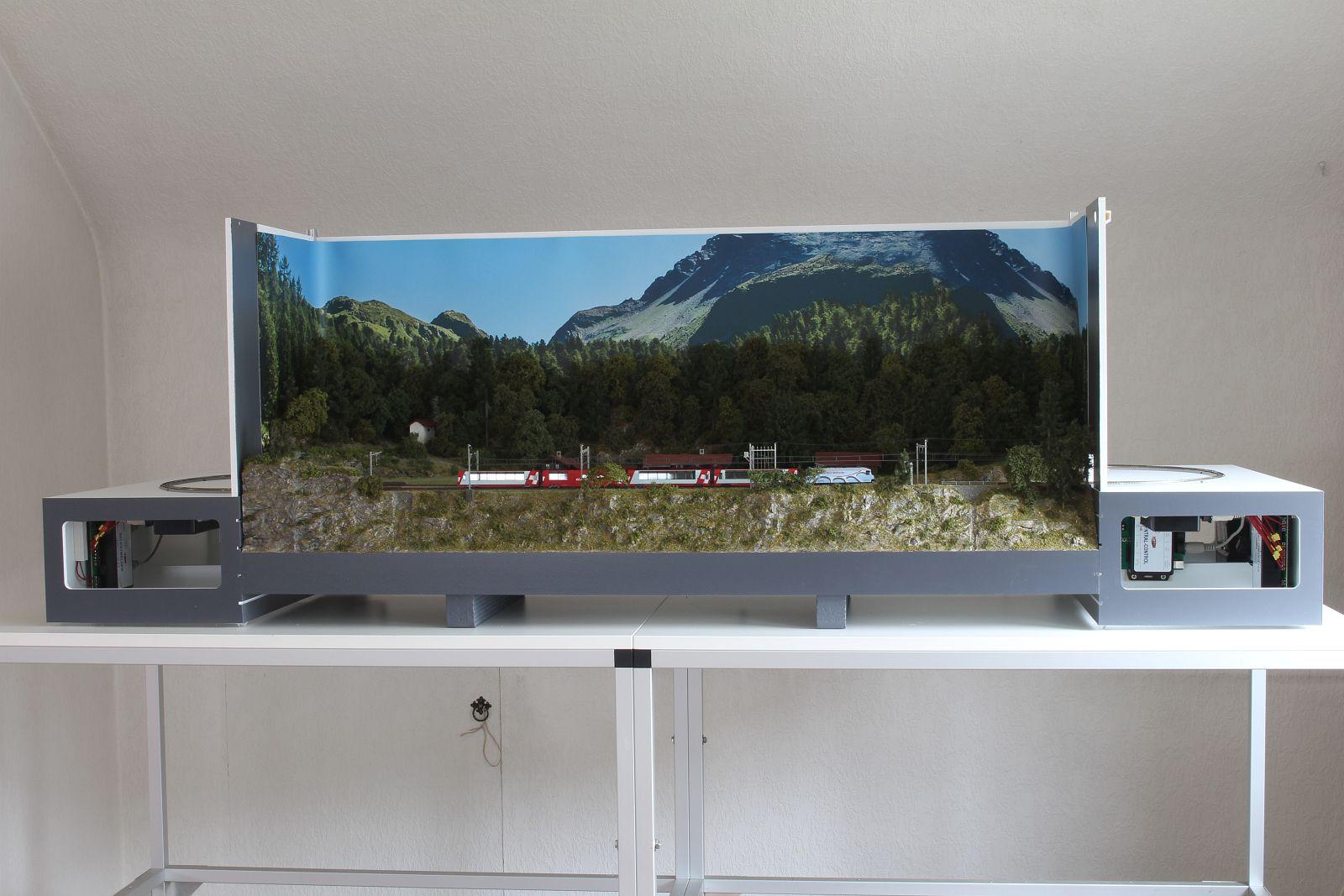Präsentationsdiorama mit Hintergrund
